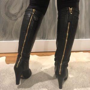 Chloe boot. Stacked heel/gold zippers